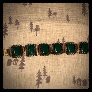 Southwestern Vintage Green Stone Panel Bracelet